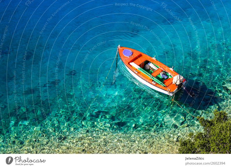 Boat on crystal clear water Sky Nature Vacation & Travel Summer Blue Colour Beautiful Green Water Landscape Sun Ocean Beach Natural Coast Tourism