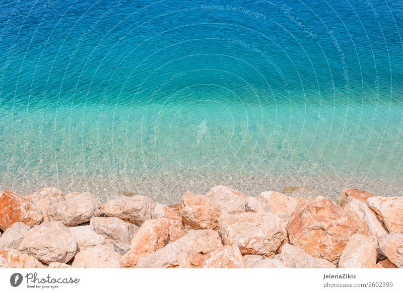 Rocks and turquoise water background Nature Vacation & Travel Summer Blue Colour Beautiful Green Water Landscape Ocean Beach Natural Coast Tourism Stone