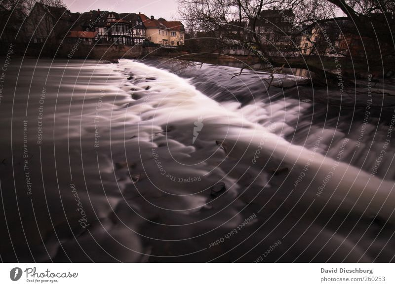 Nature Water White Plant Winter Black Landscape Cold River River bank Surface of water Waterfall Picturesque Hesse Motion blur Weir