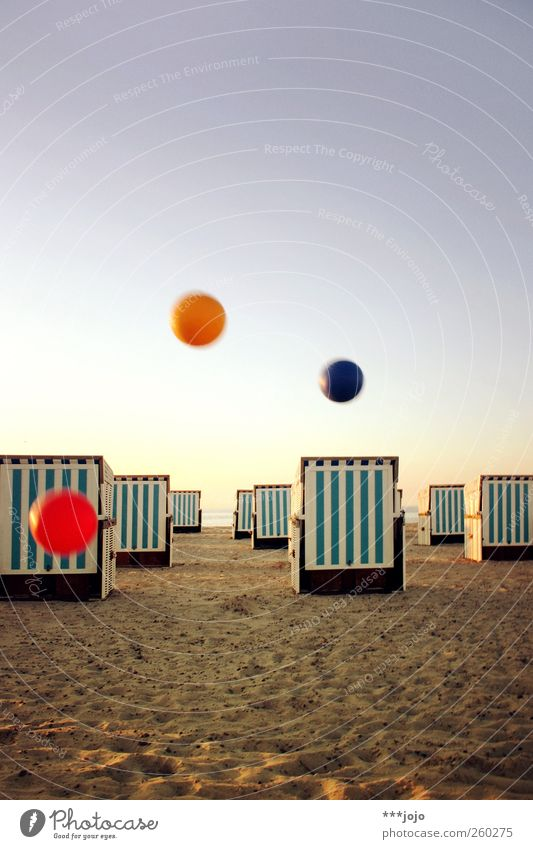 Vacation & Travel Ocean Beach Relaxation Playing Sand Flying Tourism Ball Beautiful weather Sphere Baltic Sea Hover Throw Beach chair Blue sky