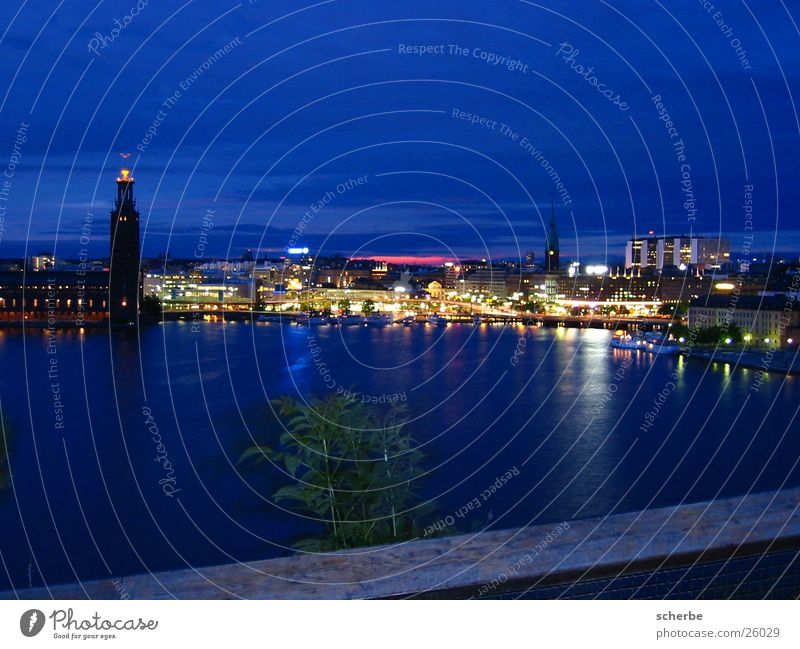 Europe Harbour Skyline Sweden Capital city Scandinavia Night shot Stockholm Port City Summer night Summer solstice City light
