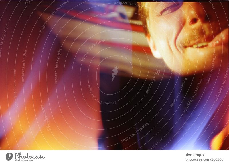 doing fine Face Masculine 1 Human being Moustache Illuminate Bright Trashy Warmth Multicoloured Joy Analog Light leak Colour photo Interior shot Abstract