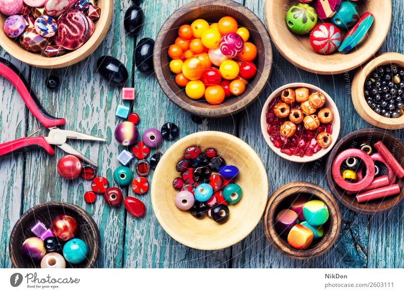 Colorful beads in wooden bowls art craft jewelry decoration jewellery color bijouterie design fashion handmade hobby beading colorful set accessory stone bright