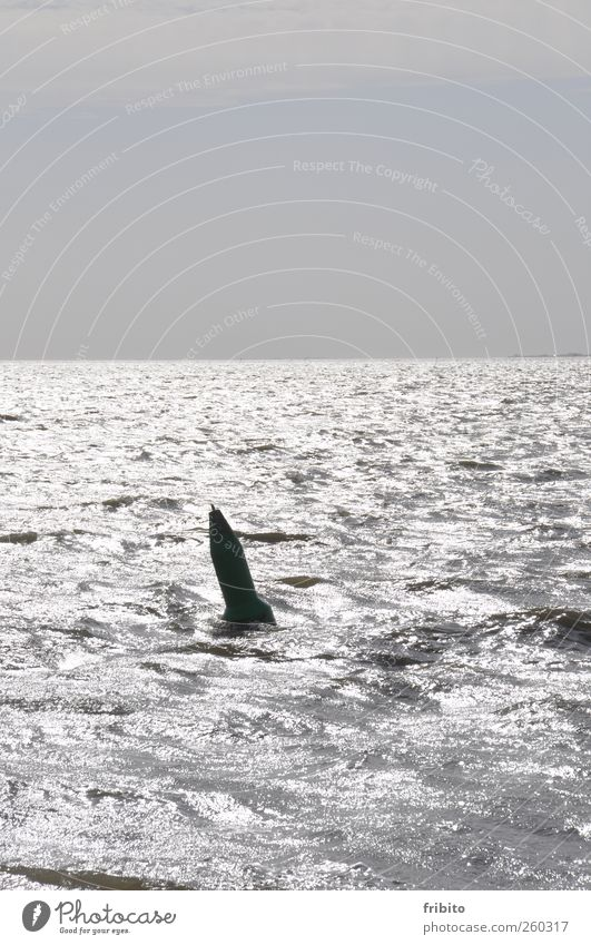 A buoy Water Sky Horizon Sunlight Waves North Sea Ocean Metal Glittering Wet Blue Gray Exterior shot Copy Space top Day Light Shadow Back-light