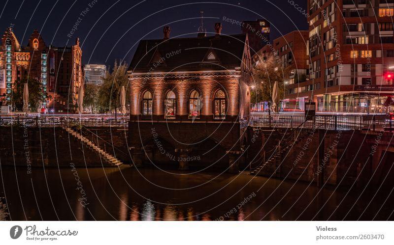 Speicherstadt Hamburg Historic Brick Reflection Twilight Fleet Germany Light Architecture conceit Lighting Water Monument Manmade structures Facade