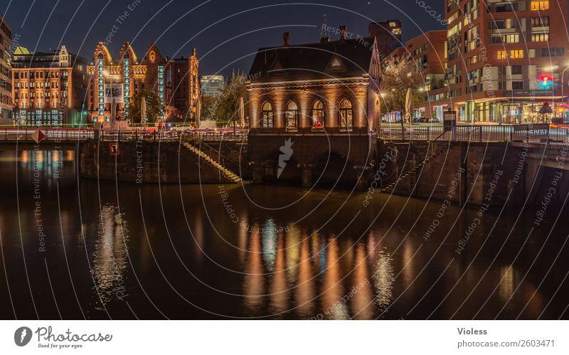 Harbour City Night Harbor city Hamburg Long exposure clearer reflection Museum Stairs Bridge Dark variegated