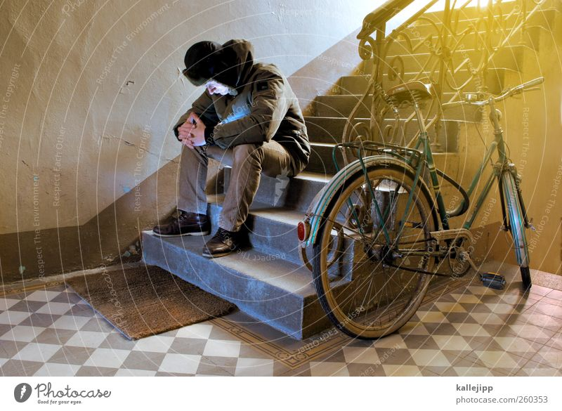 Human being Body Bicycle Sit Stairs Grief Handrail Jacket Cap Staircase (Hallway) Old building Parking area