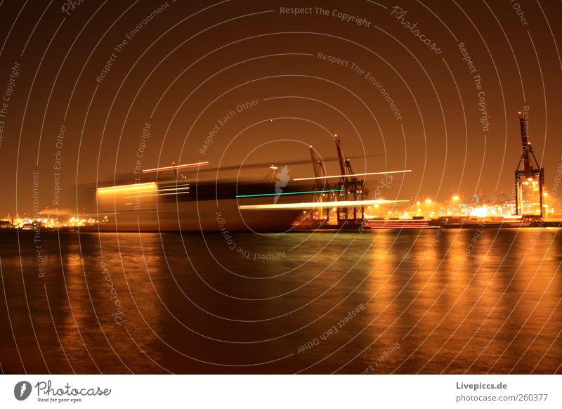 ...a ship will come! Port City Logistics Navigation Container ship Harbour Steel Yellow Colour photo Exterior shot Night Artificial light Light