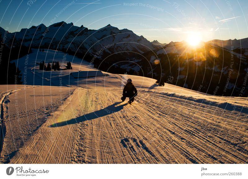 sunset cruise Life Contentment Winter Snow Winter vacation Mountain Sports Winter sports Sportsperson Sleigh ski rack toboggan run Human being Young woman