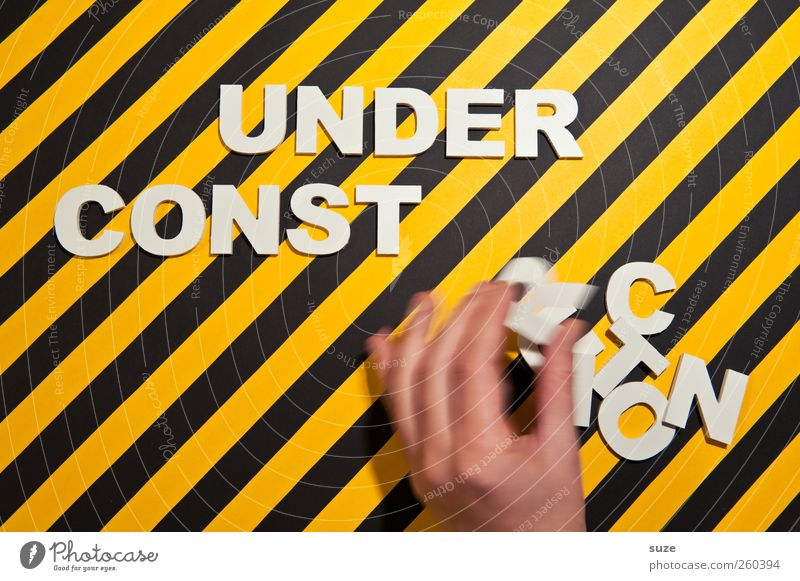 crafted Lifestyle Style Design Construction site Hand Fingers Characters Signage Warning sign Stripe Movement Funny Yellow Black White Idea Creativity Striped