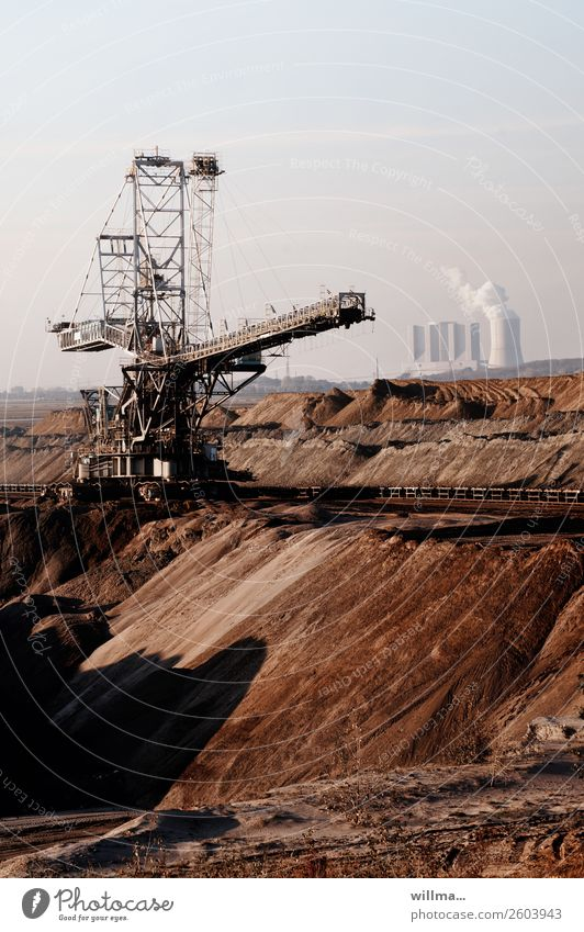 Opencast mining with power plant - fossil energy Soft coal mining Energy industry Electricity generating station Thermal power station Workplace Mine tower