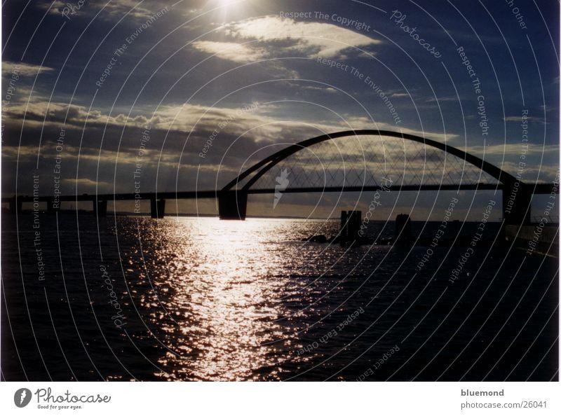 Fehmarnsund Bridge Sunset Waves Clouds Europe Water