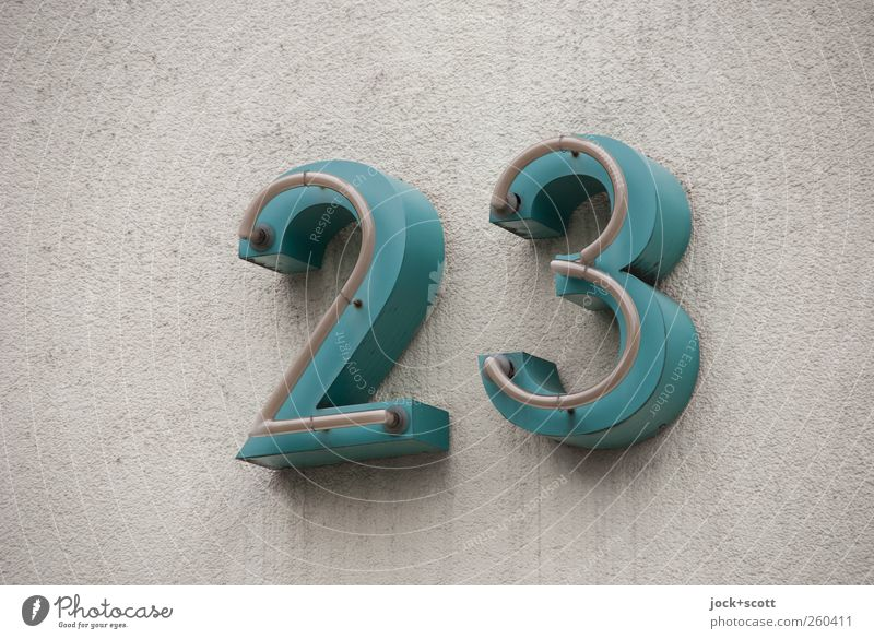 twenty-three Culture Wall (building) House number Metal Signage 23 Large Retro Gray Green Design Accuracy Precision Pure Digits and numbers Plaster