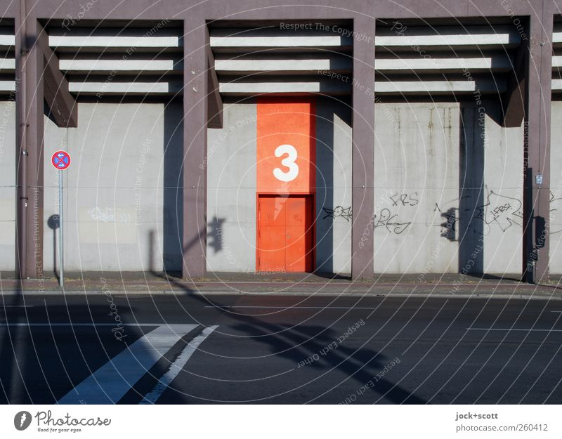 All good things come in threes at a grandstand Building Architecture Stands Column Transport Traffic infrastructure Street Traffic light Road sign Graffiti Line