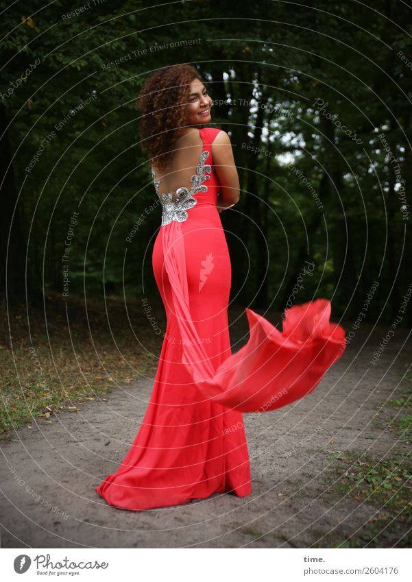 Nikoliya Feminine Woman Adults 1 Human being Tree Park Forest Lanes & trails Dress Brunette Long-haired Curl Movement Smiling Laughter Looking Stand