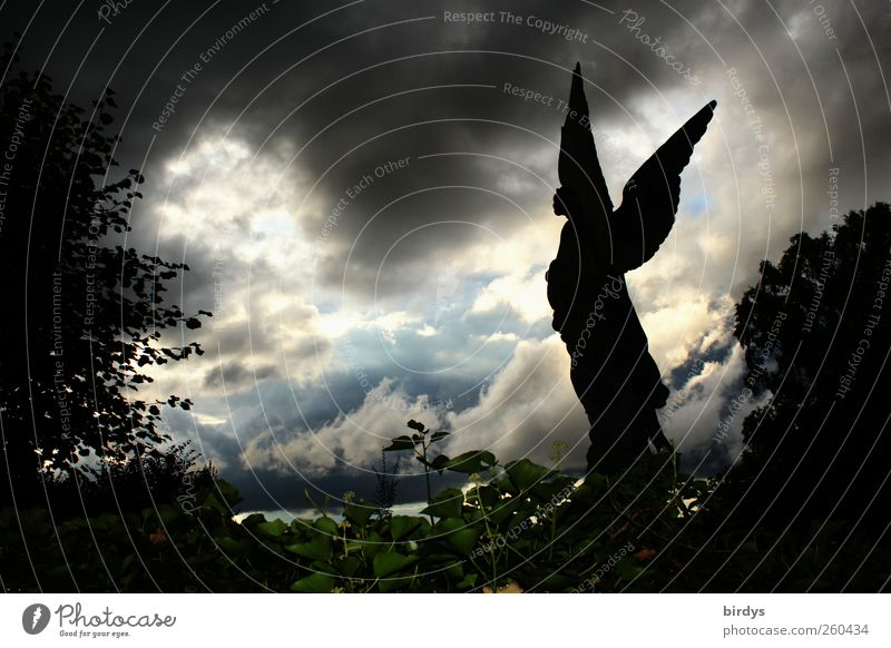 Statue of an angel with wings spread out in front of a dramatic cloud scenery. Thunderclouds Angel Mystic Storm clouds Death Religion and faith angels of death