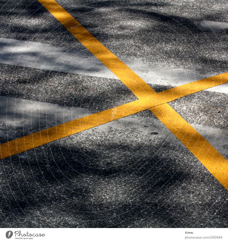Traffic calming can be so simple Deserted Traffic infrastructure Street Lanes & trails Road sign Safety Crucifix Yellow White Gray Asphalt Pavement