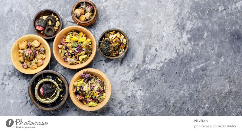 Various kind of leaf tea drink black healthy dry herb plant organic herbal chinese natural closeup antioxidant heap nature aroma ceylon copy space beverage