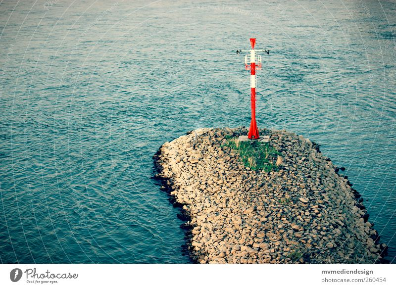 Rhine River bank Calm Surface of water Break water Signal station Colour photo Exterior shot Deserted Copy Space left