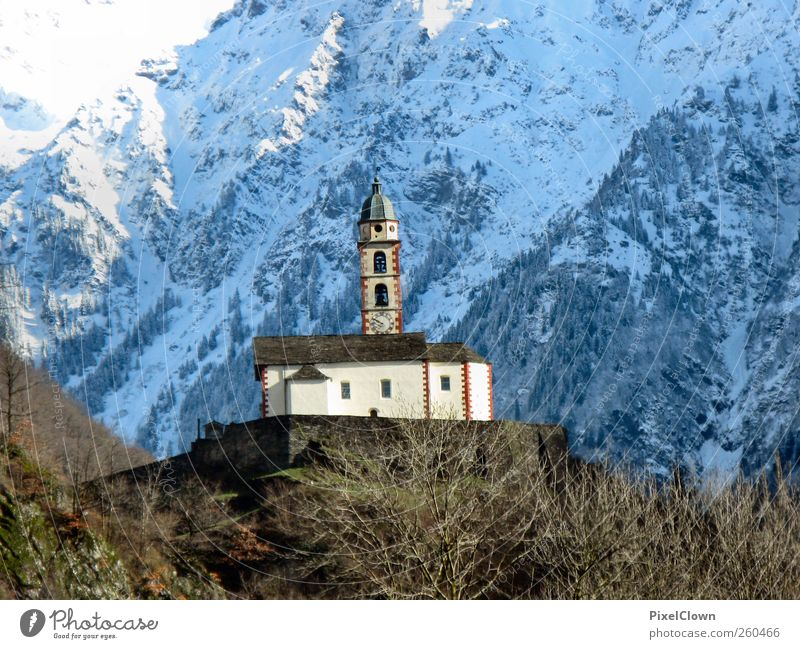 Blue White Loneliness Life Snow Landscape Mountain Stone Art Church Alps Manmade structures