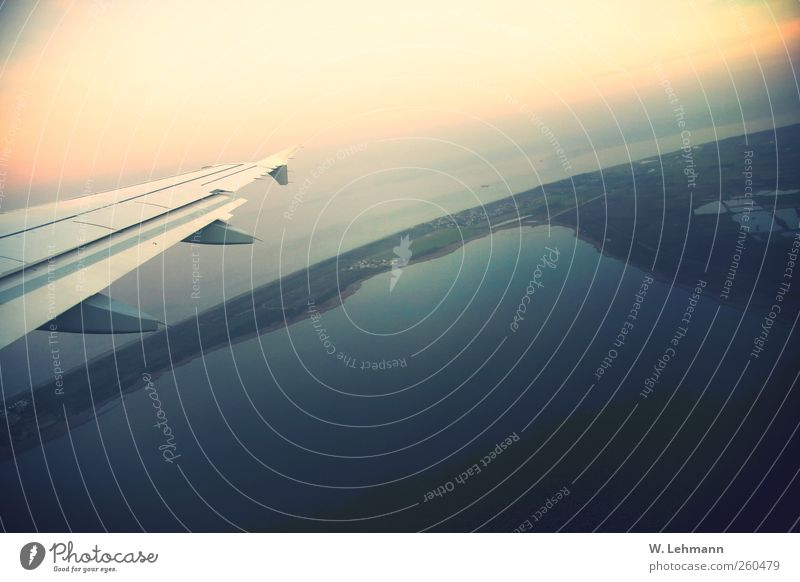 fly away Airplane Aviation Environment Landscape Cloudless sky Sunrise Sunset corsica France Airport Airplane landing Airplane takeoff Happiness Colour photo