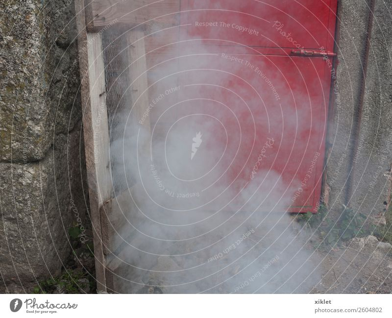 smoke Smoke Door Red House (Residential Structure) Fire mystery unreal Magic Wall (building) Granite Ink danger