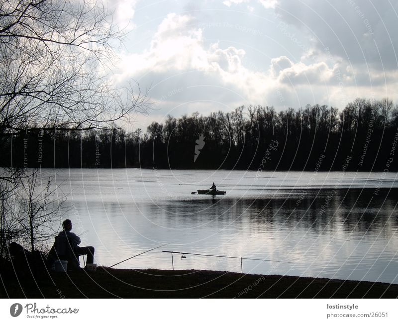 anglers Fishing (Angle) Angler Watercraft Clouds River Rhine