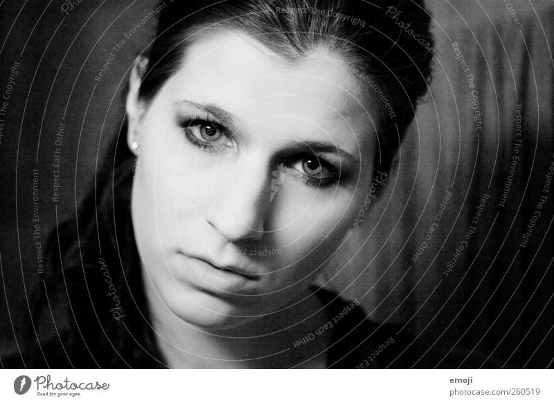 white on black Feminine Young woman Youth (Young adults) Face 1 Human being 18 - 30 years Adults Uniqueness haunting Black & white photo Interior shot