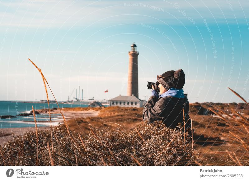 passion for photography Vacation & Travel Trip Beach Ocean Woman Adults Nature Landscape Sky Sunlight Autumn Beautiful weather Coast Bay Baltic Sea Port City