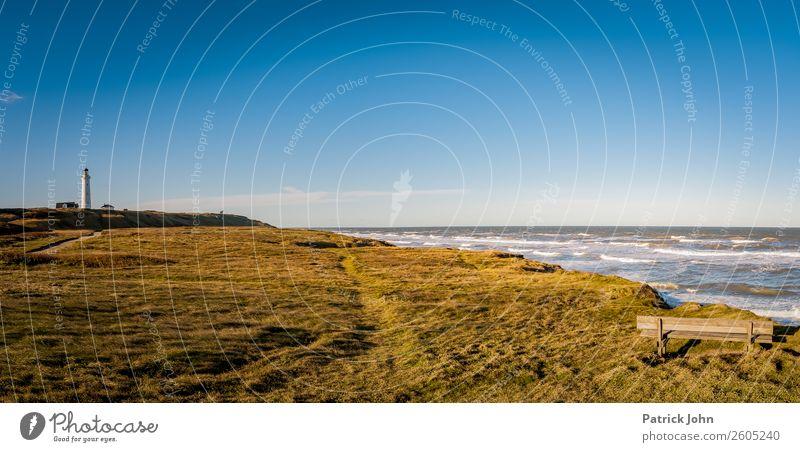 Denmark's coast Relaxation Calm Sun Beach Ocean Waves Hiking Landscape Cloudless sky Autumn Wind Meadow Coast North Sea shepherd's check Deserted Lighthouse