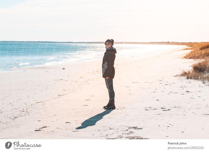 autumn beach Trip Sun Beach Ocean Hiking Woman Adults 1 Human being 30 - 45 years Nature Cloudless sky Autumn Weather Waves Coast Baltic Sea Sunglasses Cap Blue