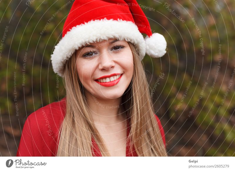 pretty girl Woman Human being Nature Christmas & Advent Beautiful White Red Calm Joy Forest Winter Face Lifestyle Adults Snow Laughter