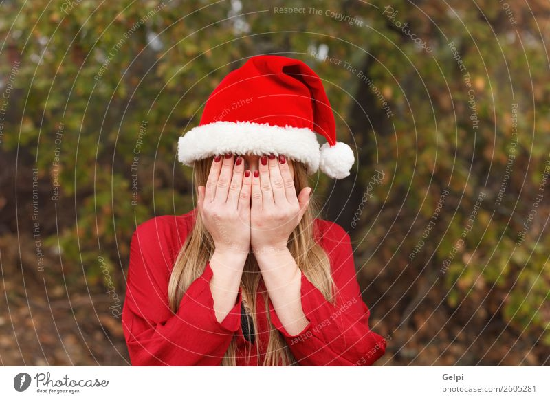 pretty girl Woman Human being Nature Christmas & Advent Beautiful White Red Hand Forest Winter Face Lifestyle Adults Sadness Fashion Park