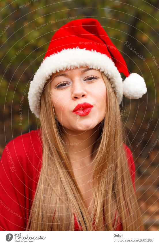 pretty girl Lifestyle Joy Happy Beautiful Face Calm Winter Christmas & Advent Human being Woman Adults Lips Nature Fog Park Forest Fashion Hat Blonde Kissing