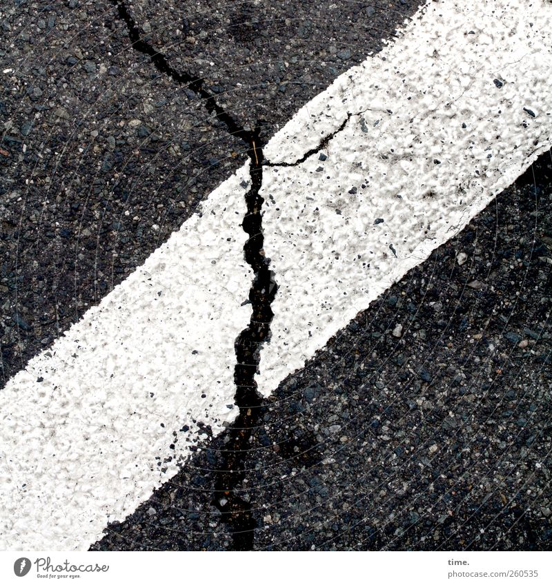 Lifelines #39 Traffic infrastructure Street Black White Colour Dye Asphalt Floor covering Tar Diagonal Crack & Rip & Tear Illustration Black & white photo