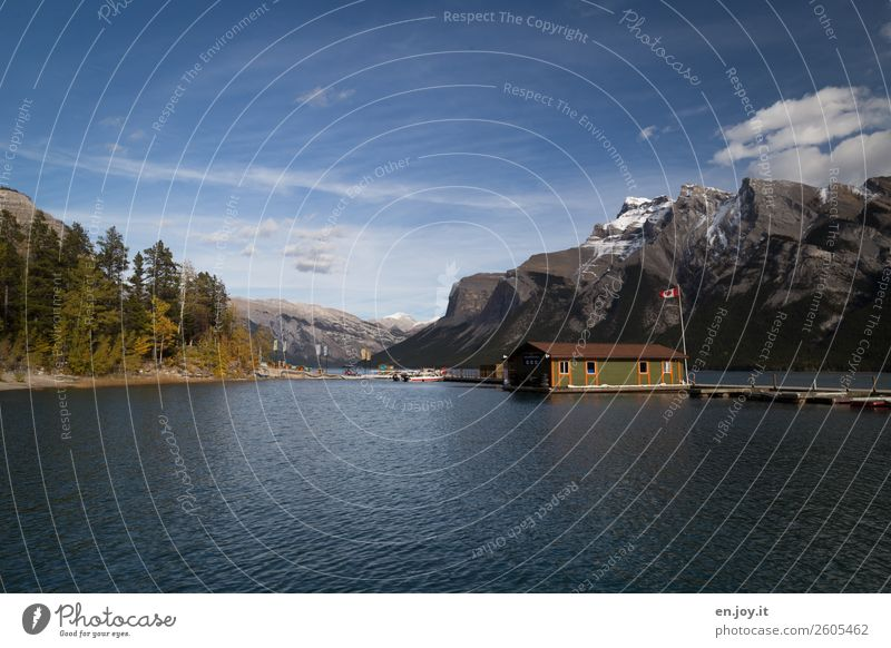 House in the lake Vacation & Travel Tourism Trip Adventure Far-off places Freedom Mountain Nature Landscape Sky Autumn Beautiful weather Rocky Mountains