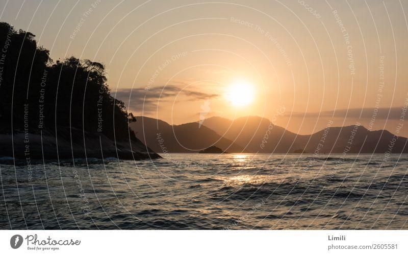 Brazilian evening mood Freedom Summer vacation Ocean Island Waves Landscape Water Sunrise Sunset Hill Mountain Coast Beach Atlantic Ocean Ilha Grande