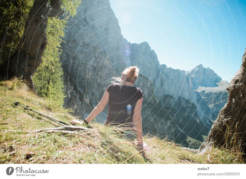 young woman takes a break in the mountains Life Well-being Relaxation Vacation & Travel Summer vacation Mountain Hiking Young woman Youth (Young adults) 1