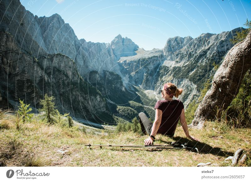 Hiker in the Alps Mountain Hiking Feminine Young woman Youth (Young adults) 1 Human being 18 - 30 years Adults Beautiful weather Rock Triglav National Park Peak