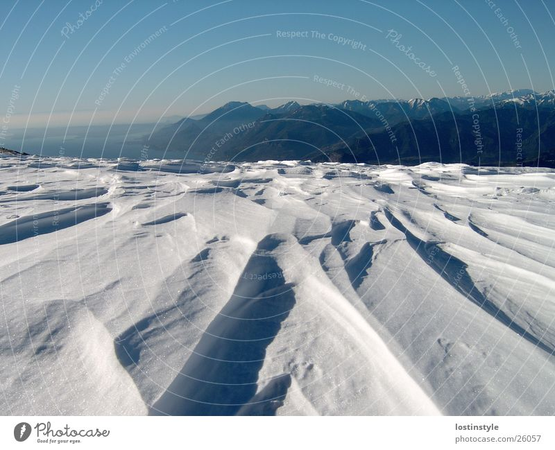 snow furrows Formation Lake Winter Garda Mountain Snow