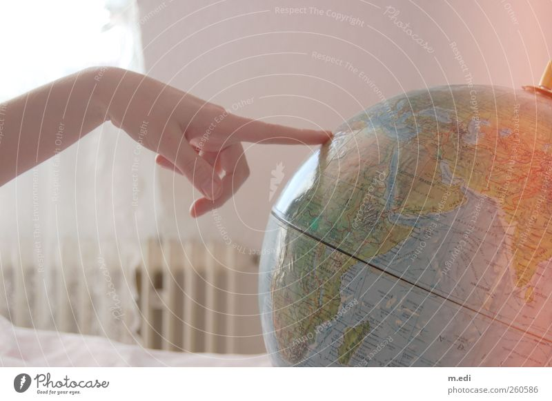 I want to go or forever a globetrotter! Trip Adventure Far-off places Hand Fingers Globe Map Homesickness Wanderlust Colour photo Interior shot