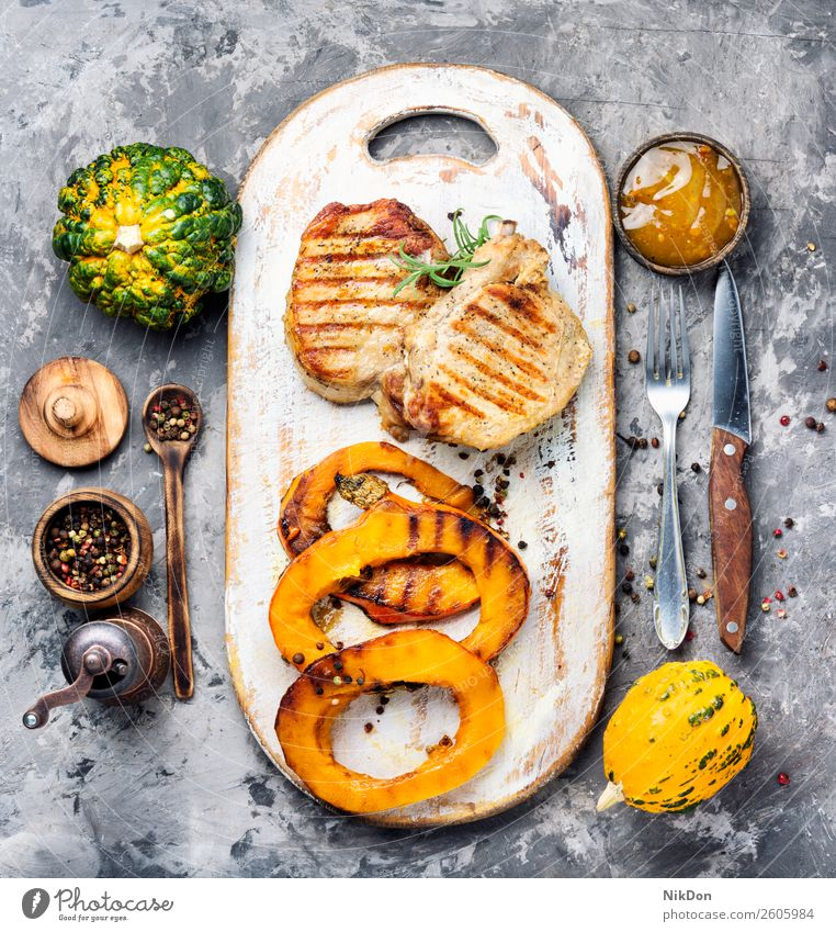 Meat steak with pumpkin food vegetable autumn fall meat meal grilled plate autumn food dinner roasted barbecue pepper autumnal fillet bbq tenderloin dish
