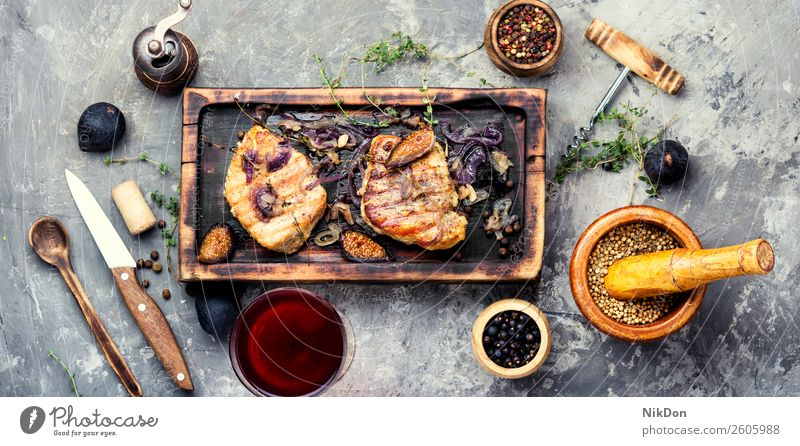 Meat steak with figs food meat meal grilled dinner roasted red barbecue pepper fillet bbq board plate table tenderloin dish ingredient beefsteak herb spice