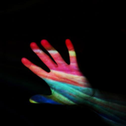 life is colourful Human being Youth (Young adults) Life Hand Blue Multicoloured Yellow Green Pink Red Black Colour photo Interior shot Experimental Abstract
