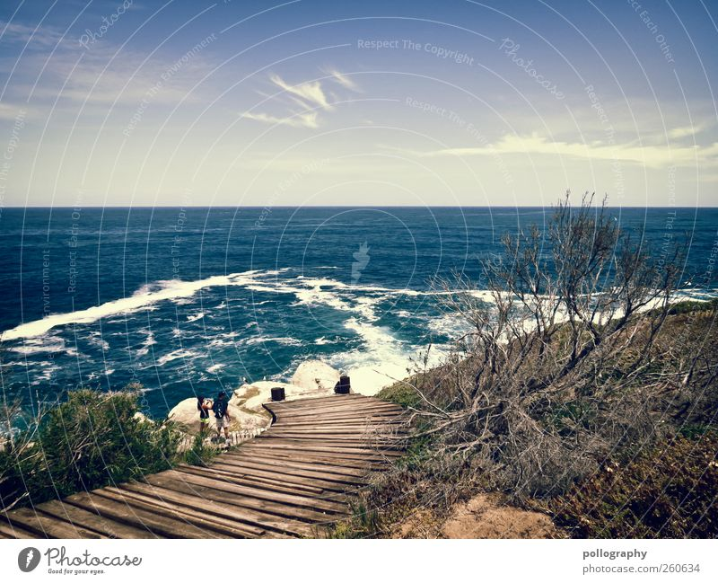 The way Vacation & Travel Far-off places Couple 2 Human being Environment Nature Landscape Plant Earth Air Water Sky Clouds Horizon Sunlight Summer