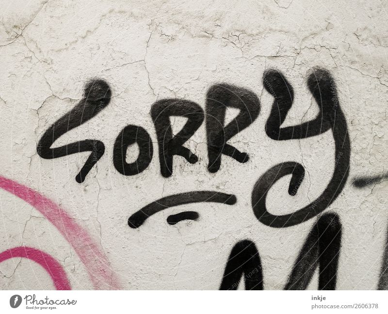 SoRRy Mom Deserted Wall (barrier) Wall (building) Facade Sign Characters Graffiti Black Emotions Friendliness Caution Honest Guilty Shame Remorse Communicate
