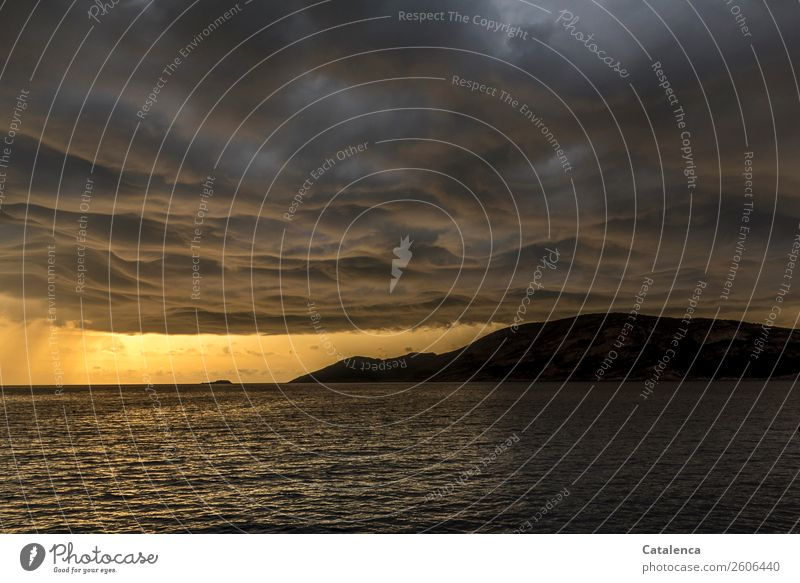 low pressure area Nature Landscape Elements Water Storm clouds Horizon Sunrise Sunset Summer Bad weather Thunder and lightning Mountain Waves Coast Ocean