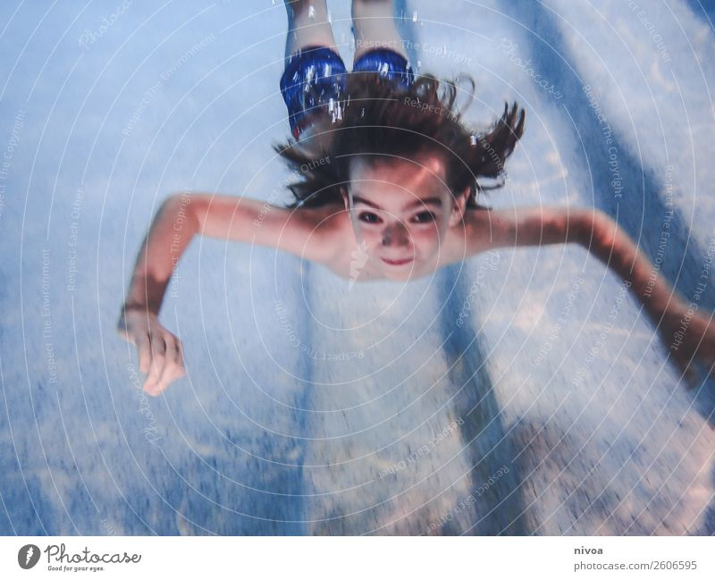 Boy dives into the pool Joy Swimming pool Swimming & Bathing Leisure and hobbies Playing Vacation & Travel Sports Dive Child Human being Masculine Boy (child)
