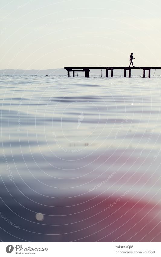Human being Sky Water Ocean Relaxation Art Lake Horizon Contentment Idyll Esthetic Italy Soft Peace Footbridge Jetty