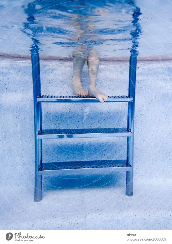 Stairs of a pool with boy legs Swimming pool Swimming & Bathing Leisure and hobbies Trip Sports Aquatics Human being Masculine Child Boy (child) Legs 1